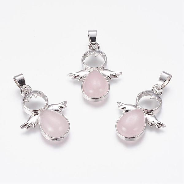 Rose Quartz Angel Pendants