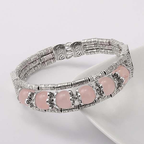 Tibetan Style Rose Quartz Bracelet