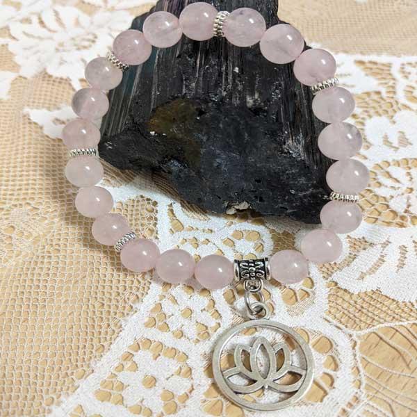 Rose Quartz with Lotus Charm Stretchy Bracelet