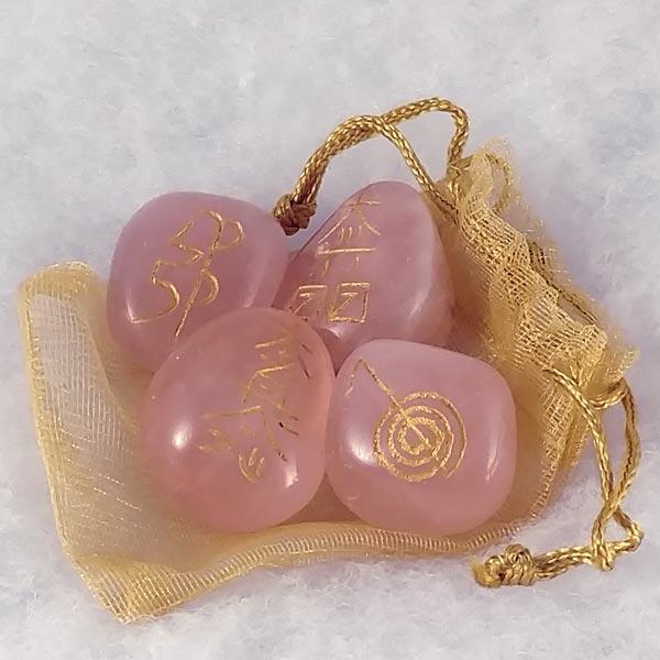 Rose Quartz Reiki Symbol Stones (set of 4)