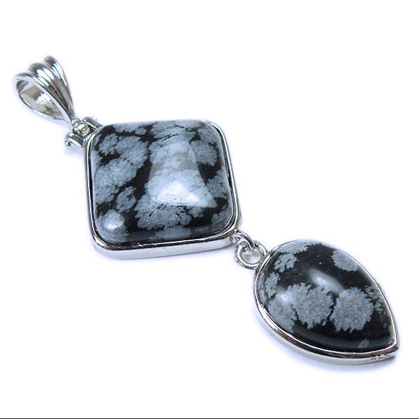 Snowflake Obsidian Dangle Pendant