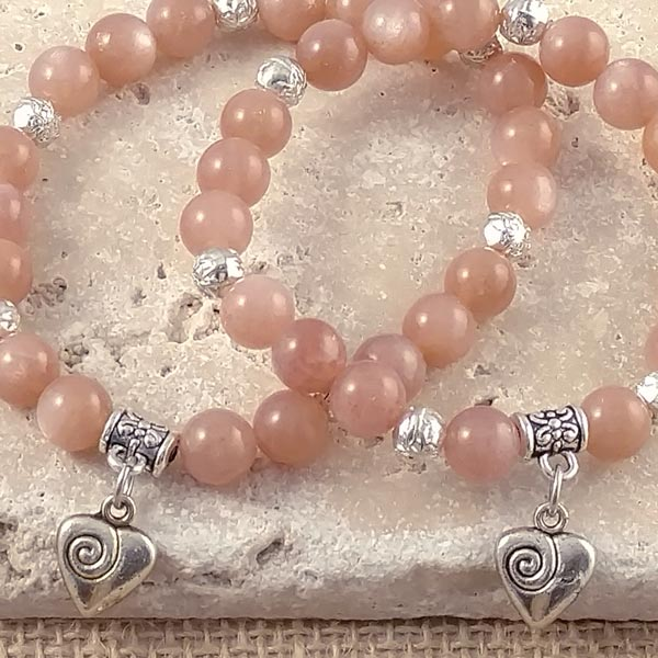 Sunstone Beaded Bracelets with Heart Charm