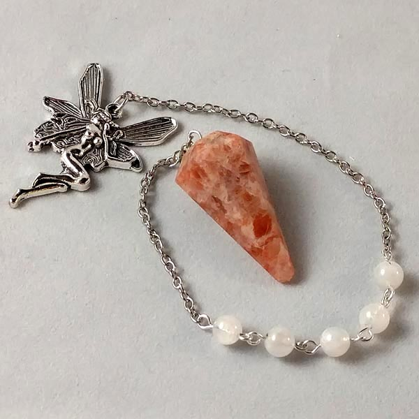 Sunstone and Moonstone Pendulum with Fairy Charm