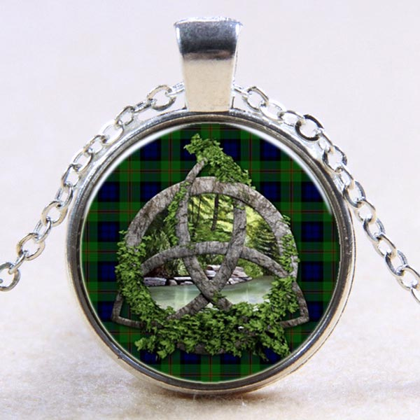 Round Domed Glass Triquetra Pendant Necklace