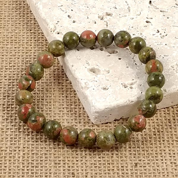8mm Unakite Hand Beaded Bracelet