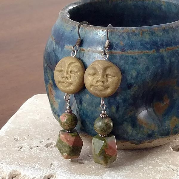 Unakite with Moons Sterling Earrings